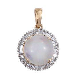 ILIANA 18K Y Gold Ethiopian Welo Opal (Rnd 2.90 Ct), Diamond Pendant 3.250 Ct.