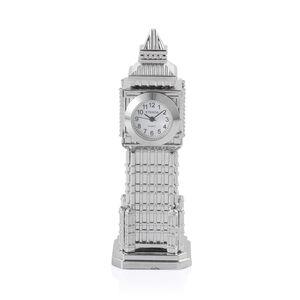 Home Decor - STRADA Japanese Movement White Dial Big Ben Design Clock in Silver Tone