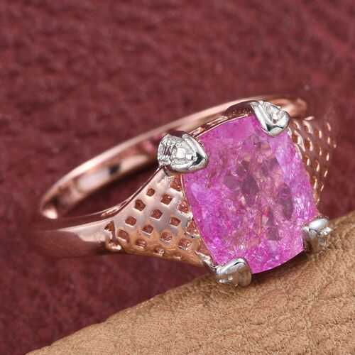 Pink Crackled Quartz (Cush) Solitaire Ring in Rose Gold Overlay Sterling Silver 2.750 Ct.