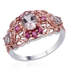 Designer Collection Marropino Morganite (Ovl 1.15 Ct), Mahenge Pink Spinel Ring in 14K RG and Platinum Overlay Sterling Silver 2.720 Ct.