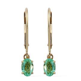 9K Yellow Gold 1 Carat Boyaca Colombian Emerald Oval Lever Back Earrings
