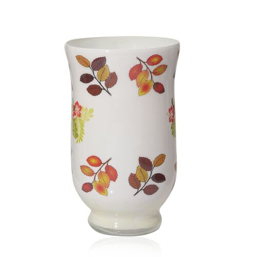 Home Decor - Leaves Printed Multi Purpose Glass Hurricane Vase (Size 6x4 inch)