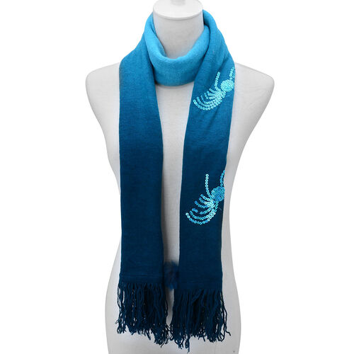 Light and Dark Blue Colour Scarf with Sequin and Fur (Size 170x70 Cm)