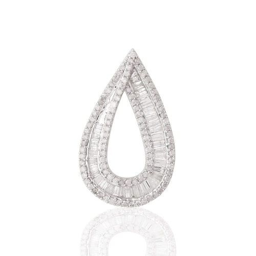 9K W Gold SGL Certified Diamond (Bgt) (I3/G-H) Tear Drop Pendant 1.000 Ct.