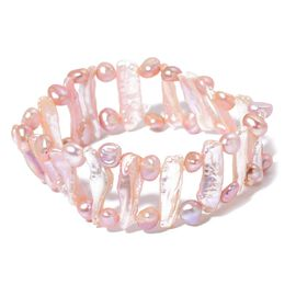 Organic Keshi Pearl and Fresh Water Pearl Stretchable Bracelet (Size 6 to 9)