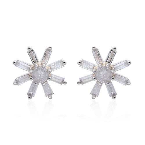 9K Y Gold SGL Certified Diamond (Rnd) (I3/G-H) Floral Stud Earrings (with Push Back) 0.500 Ct.