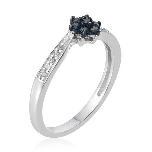 Blue Diamond (Rnd), White Diamond Ring in Sterling Silver 0.200 Ct.