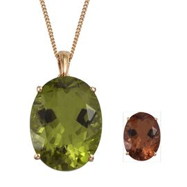 Alexite (Ovl) Pendant With Chain in 14K Gold Overlay Sterling Silver 17.500 Ct.