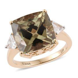 ILIANA 18K Y Gold Natural Turkizite (Cush 8.75 Ct), Diamond (SI/G-H) Ring 9.150 Ct.