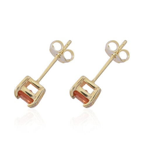 Orange Sapphire (Cush) Stud Earrings in 14K Gold Overlay Sterling Silver 1.250 Ct.