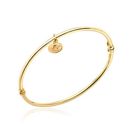 Close Out Deal Italian 9K Y Gold Bangle with Charm (Size 7.25), Gold Wt 3.70 Gms.