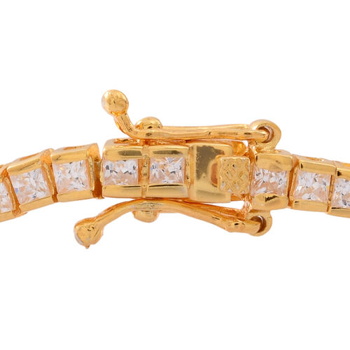 ELANZA AAA Simulated White Diamond (Sqr) Tennis Bracelet (Size 7) in 14K Yellow Gold Overlay Sterling Silver
