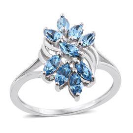 J Francis Crystal from Swarovski - Aquamarine Colour Crystal (Mrq) Ring in Platinum Overlay Sterling Silver