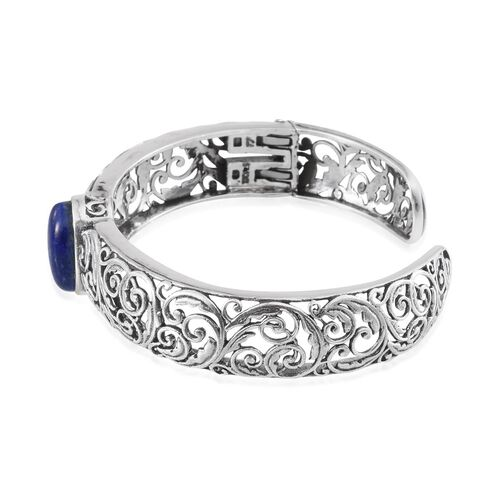 Lapis Lazuli (Ovl) Cuff Bangle (Size 7.5) in Sterling Silver 9.000 Ct.