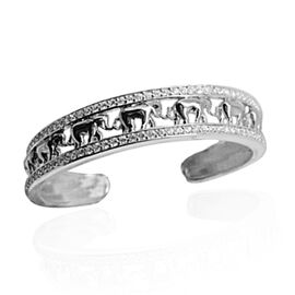 ELANZA AAA Simulated Diamond (Rnd) Elephant Cuff Bangle (Size 7.5) in Yellow Gold and Rhodium Plated Sterling Silver, Silver wt. 26.00 Gms.