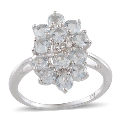 Espirito Santo Aquamarine (Rnd), Diamond Ring in Platinum Overlay Sterling Silver 1.800 Ct.