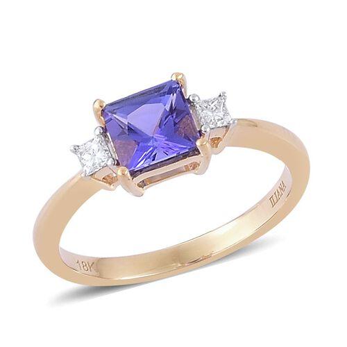 ILIANA 18K Y Gold AAA Tanzanite (Sqr 1.05 Ct), Diamond Ring 1.200 Ct.