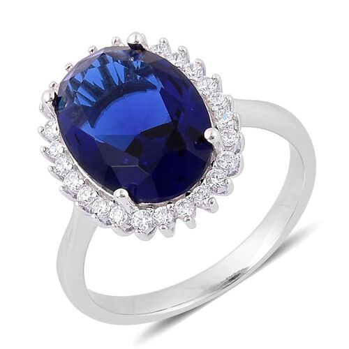 AAA Simulated Blue Sapphire and Simulated White Diamond Ring in Rhodium Plated Sterling Silver