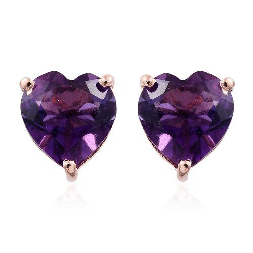 Amethyst 2 Carat Silver Heart Stud Earrings in Rose Gold Overlay