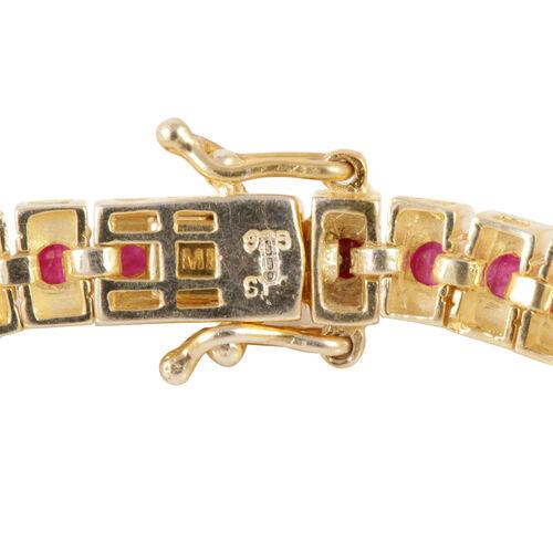 AAA Burmese Ruby (Rnd) Bracelet (Size 8) in 14K Gold Overlay Sterling Silver 8.500 Ct.