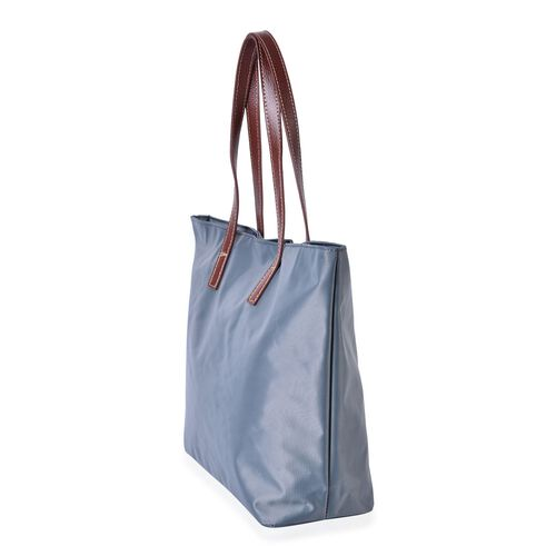 Light Grey Colour Tote Bag with External Zipper Pocket (Size 45x32.5x30x13 Cm)