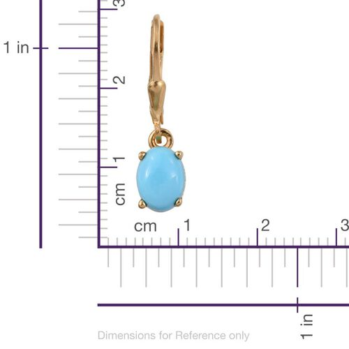 Arizona Sleeping Beauty Turquoise (Ovl) Lever Back Earrings in 14K Gold Overlay Sterling Silver 2.000 Ct.