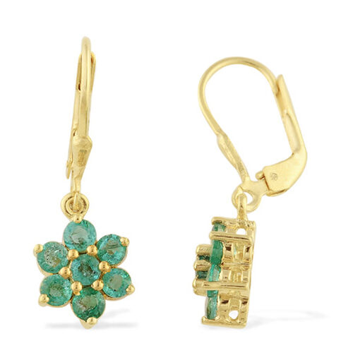 Kagem Zambian Emerald (1.50 Ct) Earring 14K Gold Overlay Sterling Silver