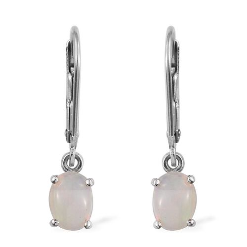 Ethiopian Welo Opal (Ovl) Lever Back Earrings in Platinum Overlay Sterling Silver 1.000 Ct.