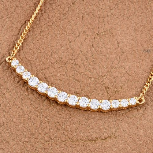 J Francis - 14K Gold Overlay Sterling Silver (Rnd) Necklace (Size 18) Made with SWAROVSKI ZIRCONIA