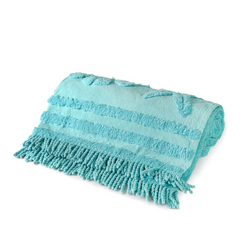 100% Cotton Tufted Shells Turquoise Beach Blanket with Fringes on Both Ends (Size 175x80 Cm)