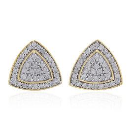 9K Yellow Gold 1 Carat Diamond Trillion Cluster Stud Earrings