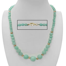 Blue Turquoise Colour Quartzite Graduation (14mm to 6mm) Necklace (Size 22) and Bracelet (Size 7 with 1 inch Extender) in Yellow Gold Bond 375.000 Ct.