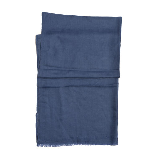 88% Merino Wool and 12% Silk Blue Colour Scarf (Size 200x70 Cm)