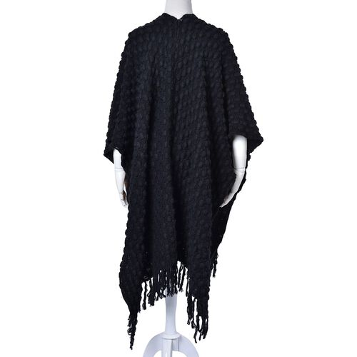 Black Colour Knitted Poncho (Size 110x90 Cm)