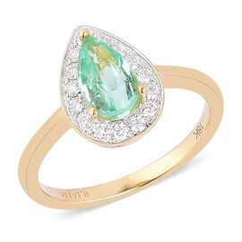 ILIANA 18K Yellow Gold 1.4 Carat AAA Boyaca Colombian Emerald And Diamond (SI/G-H) Halo Ring