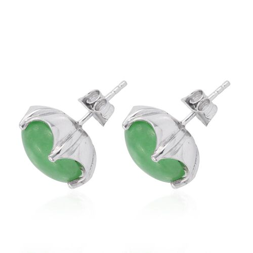Green Jade (Rnd) Stud Earrings (with Push Back) in Platinum Overlay Sterling Silver 13.250 Ct.