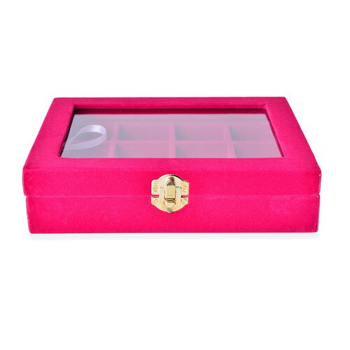 Rose Red Colour 12 Sections Velvet Jewelry Box  with Anti Tarnish Treatment (Size 20X15X4.5 Cm)