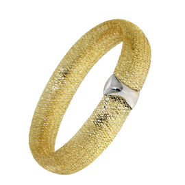ILIANA 18K Y Gold Made in Italy  Desginer Inspired Mesh Stretchable Bangle (Size 7.5), Gold wt 5.67 Gms.