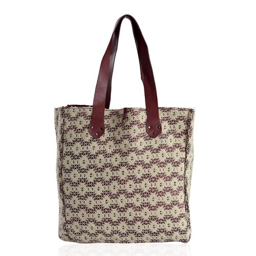 Linea Burgundy Genuine Leather With 100% Cotton Floral Lace Bonding Reversible Tote  (Size 34x34x8 Cm)