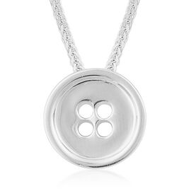 LucyQ Button Necklace (Size 18) in Rhodium Plated Sterling Silver 7.58 Gms.
