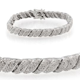 Diamond (Rnd) Bracelet (Size 7) in Platinum Overlay Sterling Silver 2.500 Ct.
