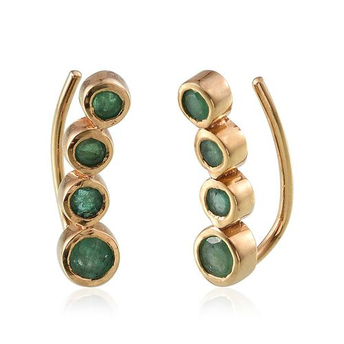 Kagem Zambian Emerald (Rnd) Climber Earrings in 14K Gold Overlay Sterling Silver 1.250 Ct.