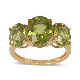9K Y Gold AAA Hebei Peridot (Ovl 3.00 Ct) 3 Stone Ring 5.750 Ct.