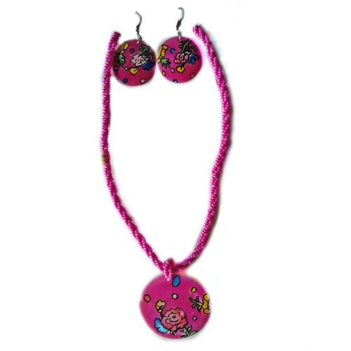 Royal Bali Collection Painted Shell Earrings and 3 Strand Seed Beaded Necklace (Size 18) in Stainless Steel