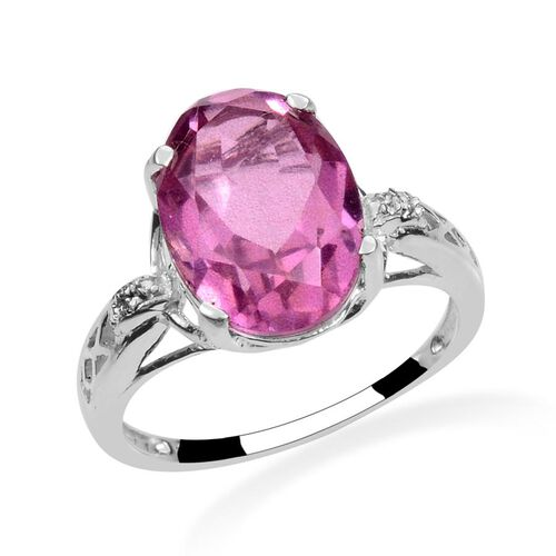 Kunzite Colour Quartz (Ovl 5.50 Ct), Diamond Ring in Sterling Silver 5.510 Ct.
