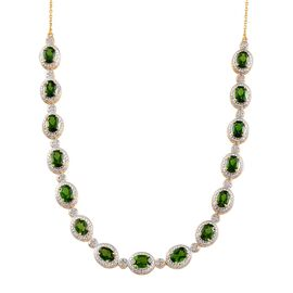 Russian Diopside (Ovl), Diamond Necklace (Size 20) in 14K Gold Overlay Sterling Silver 11.250 Ct.