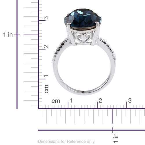 Crystal from Swarovski - Montana Crystal (Ovl) Ring in Sterling Silver