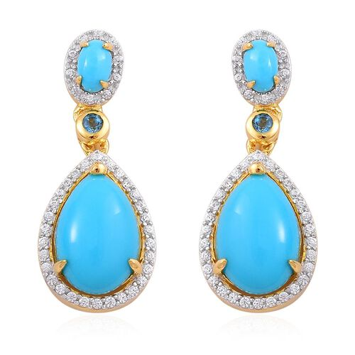 Arizona Sleeping Beauty Turquoise (Pear), London Blue Topaz and White Zircon Earrings (with Push Back) in Yellow Gold Overlay Sterling Silver 5.250 Ct.