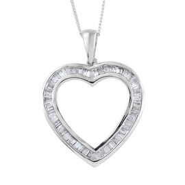 Diamond (Bgt) Heart Pendant With Chain Platinum Overlay Sterling Silver 0.500 Ct.