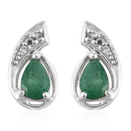 Kagem Zambian Emerald, Natural Cambodian Zircon 0.75 Ct Silver Stud Earrings in Platinum Overlay
